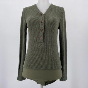 Point Sur Top Olive Green Henley Bodysuit Ribbed